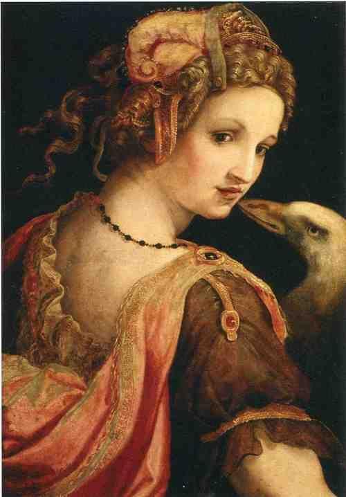 catonhottinroof: Ghirlandaio Domenico  Leda and the Swan, 1460 Зевс был поражен красотой Леды, и, обратившись лебедем, на реке Еврот овладел ею. Эта тема в искусстве была популярна необыкновенно
