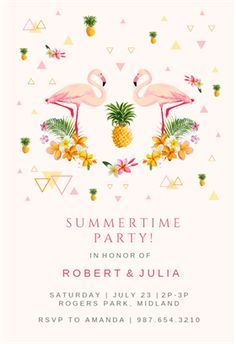 """""""Flamingo Party"""" printable invitation template. Customize, add text and photos. Print or download for free!"""
