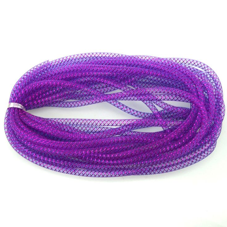 Solid Mesh Tubing Deco Flex Ribbon, 8mm, 10-yard, Purple