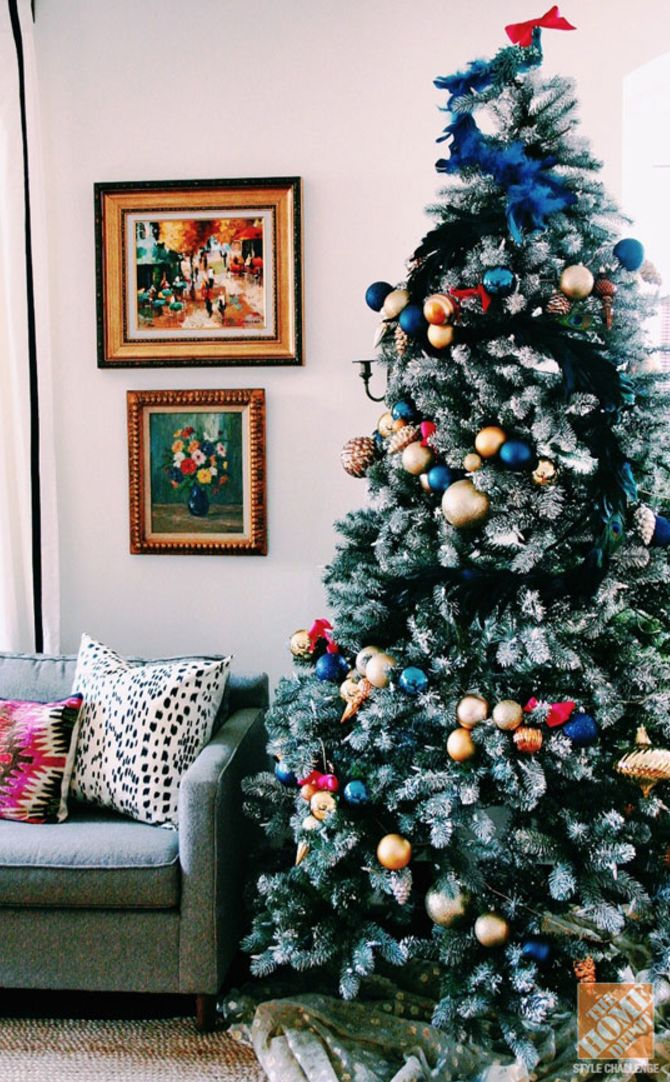 Go all-out this holiday season with this fabulous DIY Christmas tree tutorial. With gold and blue accents, and a few pink bows for a girly touch, this living room makeover will turn your home into a winter wonderland. Let Blogger Melissa, of The Sweet Escape, inspire you to rethink your holiday decorations this year. |@homedepot