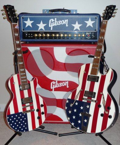 Red, white & blue-themed Gibson Guitars (based in Nashville)!  #OneOfAKindNashville