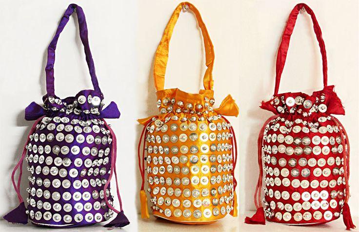 Three Sequined Fashionable Silk Bags (Silk))