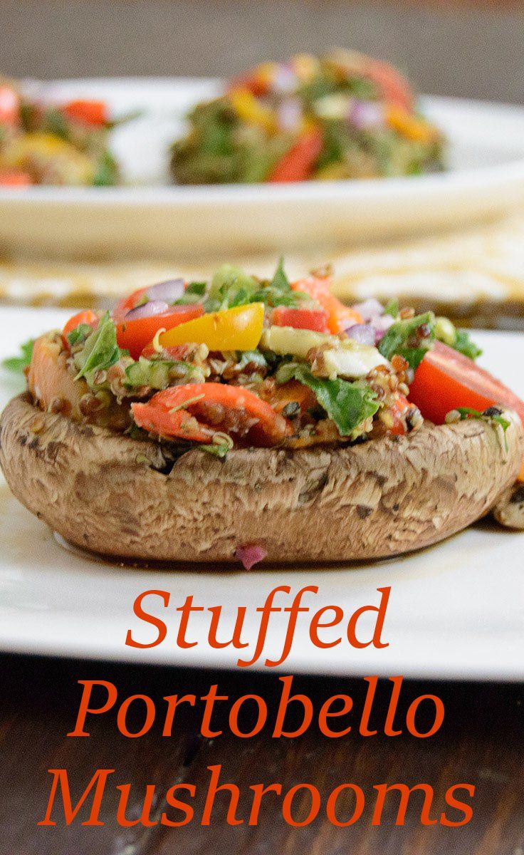 Mediterranean Stuffed Portobello Mushrooms are stuffed with lentils and quinoa for an easy healthy meal Packed with veggies, these mushrooms are vegan, low fat and gluten free.   bitesofwellness.com #glutenfree #vegan #mushrooms