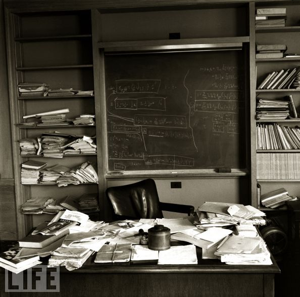 Einstein's Desk on the day he died. As much as I love nicely organized spaces I do not seem to be able to maintain them. This makes me feel better. :]