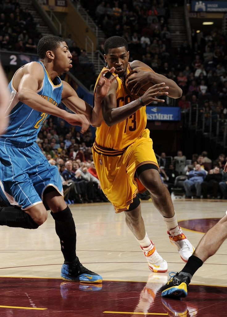 Forward Tristan Thompson forces his way towards the basket against the New Orleans Hornets at Quicken Loans Arena on February 20, 2013 in Cleveland, Ohio - photo courtesy of David Liam Kyle / NBAE via Getty Images.