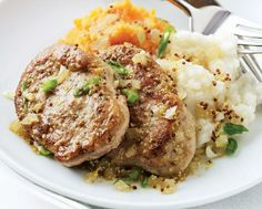 Maple-Mustard Pork Medallions with Two Potatoes