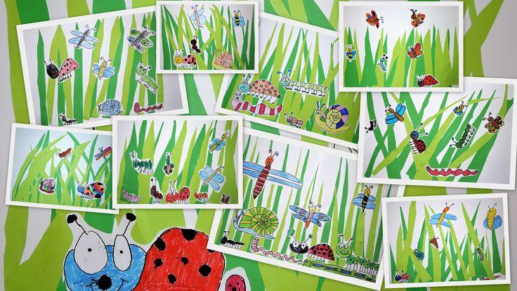 Broučci v trávě - barevné papíry, černý fix, pastelky - 1. třída