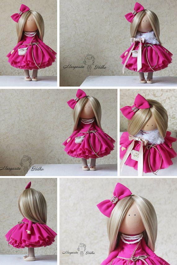 Love doll handmade doll blonde red white colors Rag doll Tilda