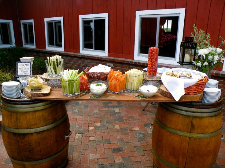 Summer crudités bar for cocktail hour at Crooked Willow Farm. Weddings Planning by MuseEvents.com