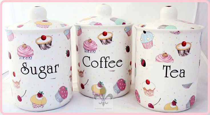 Fairy Cupcakes Tea Coffee Sugar Canisters Bone China Jars Set Hand Decorated UK #Fromeuropewithlove