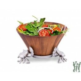Serve a family-sized portion of salad with the helpful support of these crabs in Arthur Court's Tall Wood Bowl.Gleaming crustaceans adorn opposite sides of the handmade, aluminum stand as they reach their realistic claws up the side of the bowl.