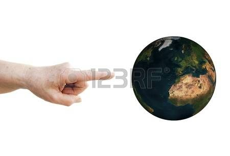 Finger points to planet Earth
