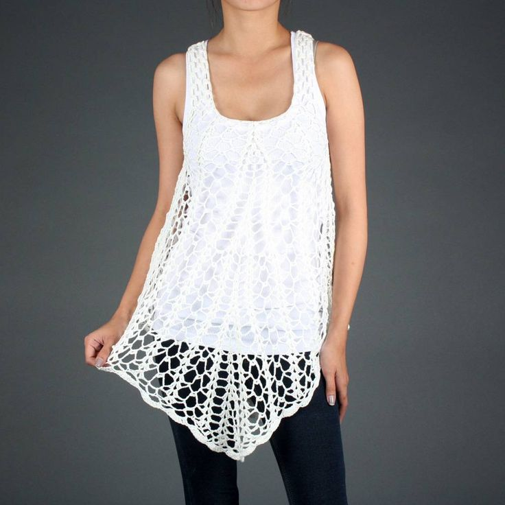White Crochet Knit Summer Overlay Beach Tank Top | Trendy Ladies Clothes