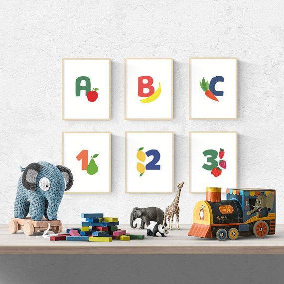 Printable Nursery Wall Art, Alphabet & Numbers, Food Illustration, Baby Room, Baby Shower GIft