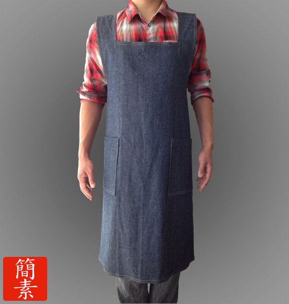 "Mens Apron - Original ""No Ties"" Japanese Apron - Mens - Dark Blue Denim"