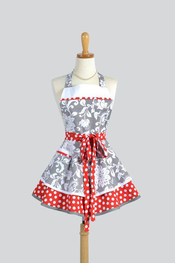 Apron / Ruffled Retro Apron Handmade Flirty Full Womens Apron in Gray and White Floral Damask from Riley Blake Mystique Designer Fabrics