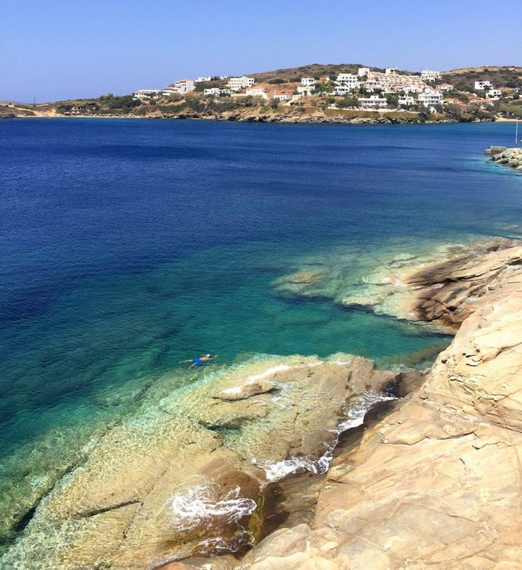 Crystal clear waters on the island of Andros, in the Greek Islands