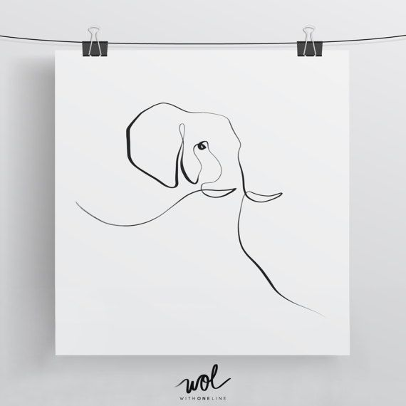 Elephant Print – Calligraphy Art – Single Line Drawing – Limited Edition Wall Art