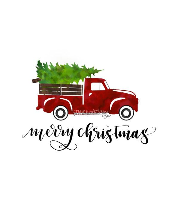 Vintage Truck with Christmas Tree Digital by Emlabhandlettering | Fun christmas decorations ...