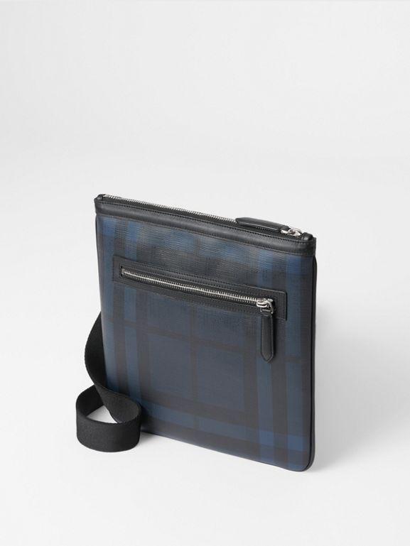 32ff3e7453bf Leather Trim London Check Crossbody Bag in Navy black - Men