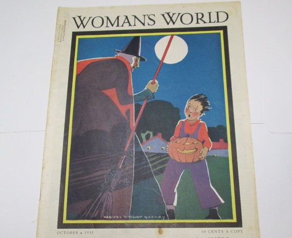 1935 Halloween Witch Original Magazine Cover Art Scared Child Jack O Lantern Vintage Woman's World Illustration by Maginel Wright Enright Barney Ephemera $30