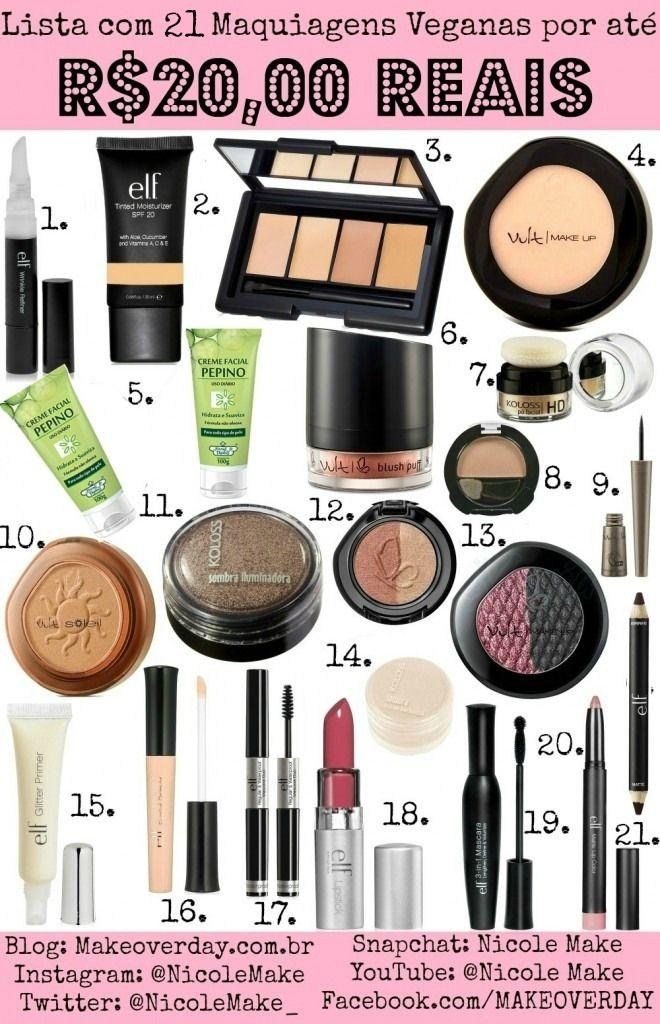 Lista com 21 Maquiagens Veganas : Vegan Nacionais por até R$21,00 Reais. Mais de 100 Produtos Veganos!