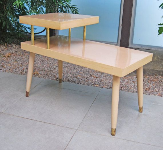 Vintage 1950 39 s formica 2 tiered side table for Retro side table