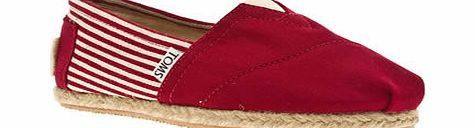 toms Red University Classic Stripe Flats Schuh are proud to introduce Toms, an LA based company who give a pair of shoes to a child in need every time they sell a pair. Nautical canvas upper and espadrille inspired midsole, make this both an http://www.comparestoreprices.co.uk/womens-shoes/toms-red-university-classic-stripe-flats.asp