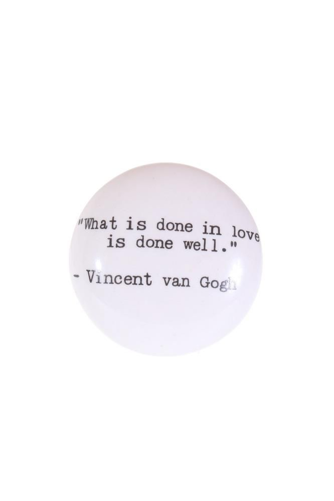 Vit knopp med text, Vincent van Gogh