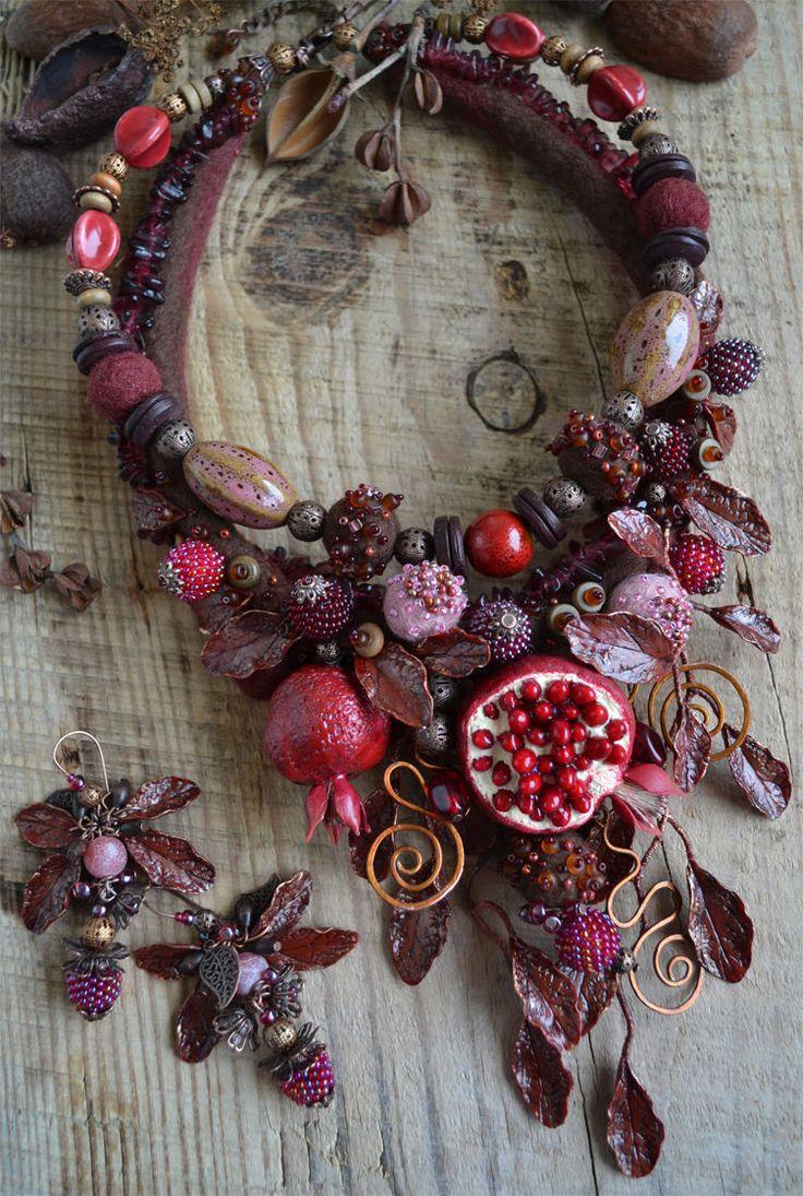 """Jewelry set   Купить Комплект """"Изобилие"""" - бордовый, коричневый, бордовое колье, гранат, гранатовый, марсала, бордо"""
