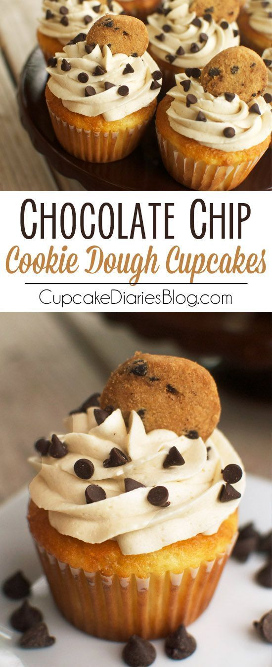A delicious vanilla cupcake topped with chocolate chip cookie dough frosting with a cookie dough surprise in the center.