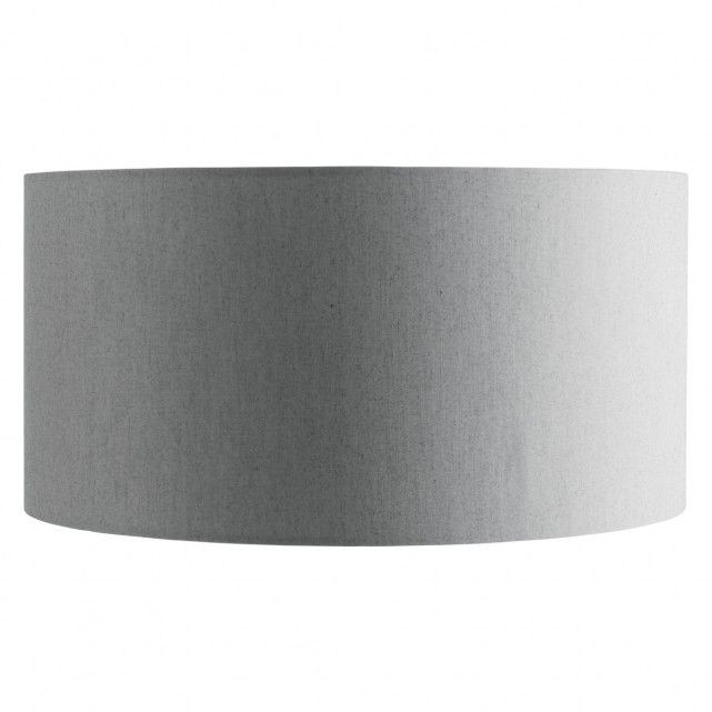 SAFI Silver large fabric drum lampshade D38 x H19cm