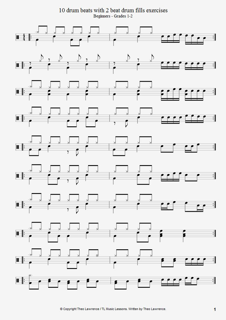 10 beginners drum beats with 2 beat drum fills exercises - PDF Download