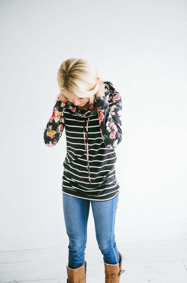 GroopDealz   Stripes & Floral Hoodie
