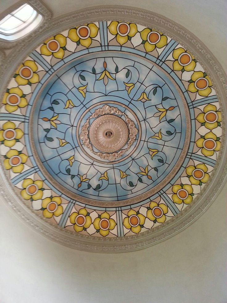 Faux stained glass Dome.     www.dwcustommurals.com, Dream Walls Murals and Faux Finish, By Artist Alfredo Montenegro