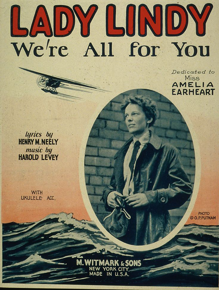 """Amelia Earhart, named """"Lady Lindy"""" after a male counterpart, Charles Lindburgh."""