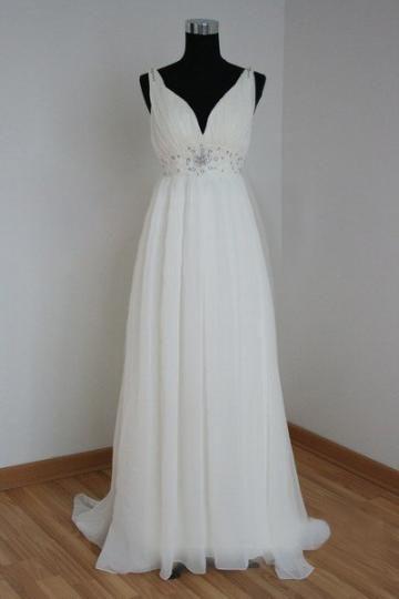 Okouzlijící & dramatický Šněrování Empírové Ruční na míru Svatební šaty