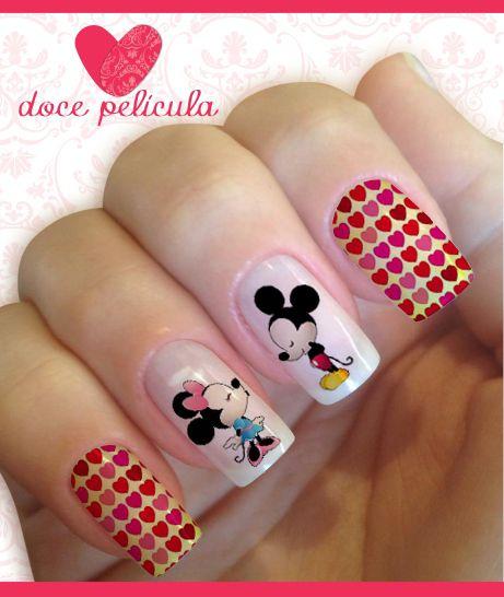 Películas ou Adesivos de Unhas Modelo Mickey e Minnie