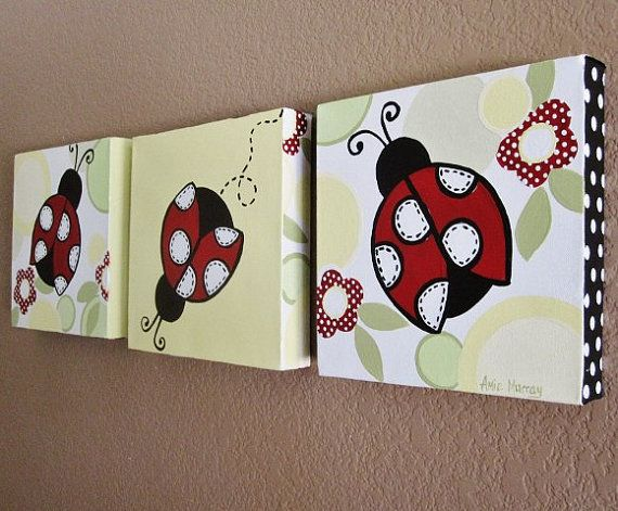 Ladybugs hand painted on canvas