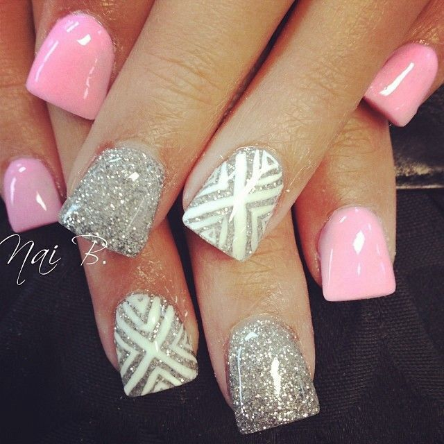 Super Cute Pink Silver Amp Tribal Nails Nail Ideas To Try Pinterest Glitter Nails And