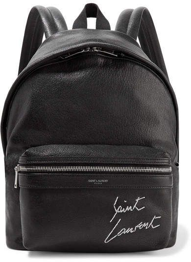 Saint Laurent - Mini Toy City Embroidered Textured-leather Backpack - Black c8763a0b24