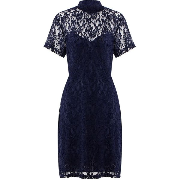 Yoins Plus Size High Neck Lace Dress ($18) ❤ liked on Polyvore featuring dresses, navy, plus size blue dress, blue lace dress, navy blue lace cocktail dress, blue lace cocktail dress and plus size lace dress