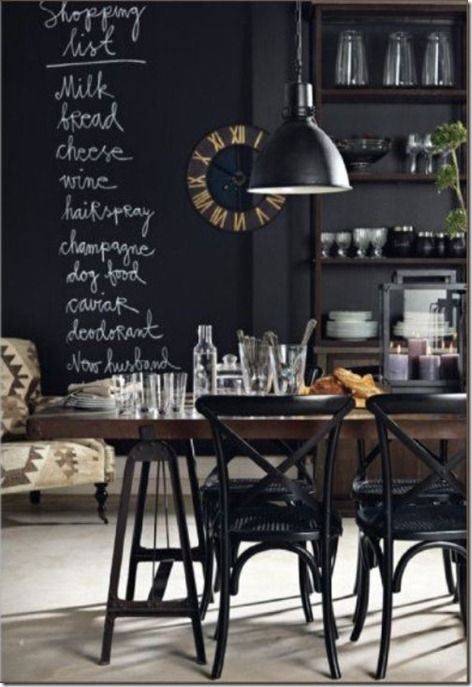 Vintage Industrial Kitchen. Ha ha...look at the last item on her shopping list!