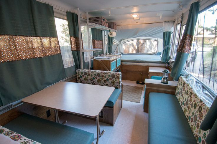 Pop Up Camper Makeover  New upholstery new curtains painted kitchen cabinets Some sewing
