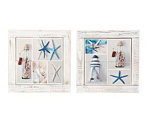 Set de 2 cuadros marineros en pino y cerámica