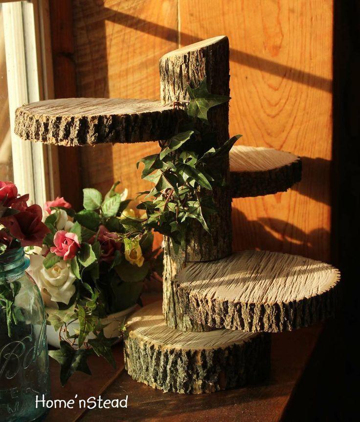 Cupcake Wedding Cakes on tree stand   Wedding - Large 3-Tiered Rustic Wedding Decor Tree Mason Jar / Candle ...