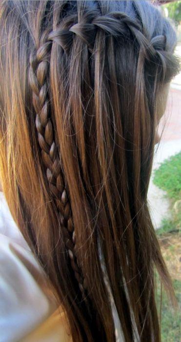 Waterfall braidFrench Braids, Straight Hair, Long Hair, Hair Makeup, Regular Braids, Cute Hair, Hair Style, Waterfall Braids, Side Braids