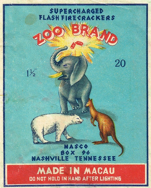 Zoo Brand C2 20's firecracker pack label by Mr Brick Label