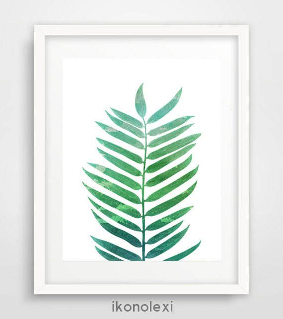 Leaf print, Watercolor leaf art, Watercolor prints, Green Leaf Print, Printable Minimalist, Palm Tree Leaf Art, Tropical Palm Leaf Poster by Ikonolexi on Etsy