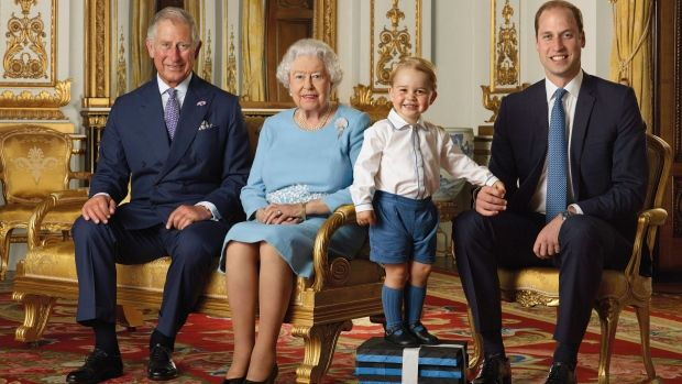 Four generations of the British Royal Family are featured on a new stamp in honour of the Queen's 90th birthday.